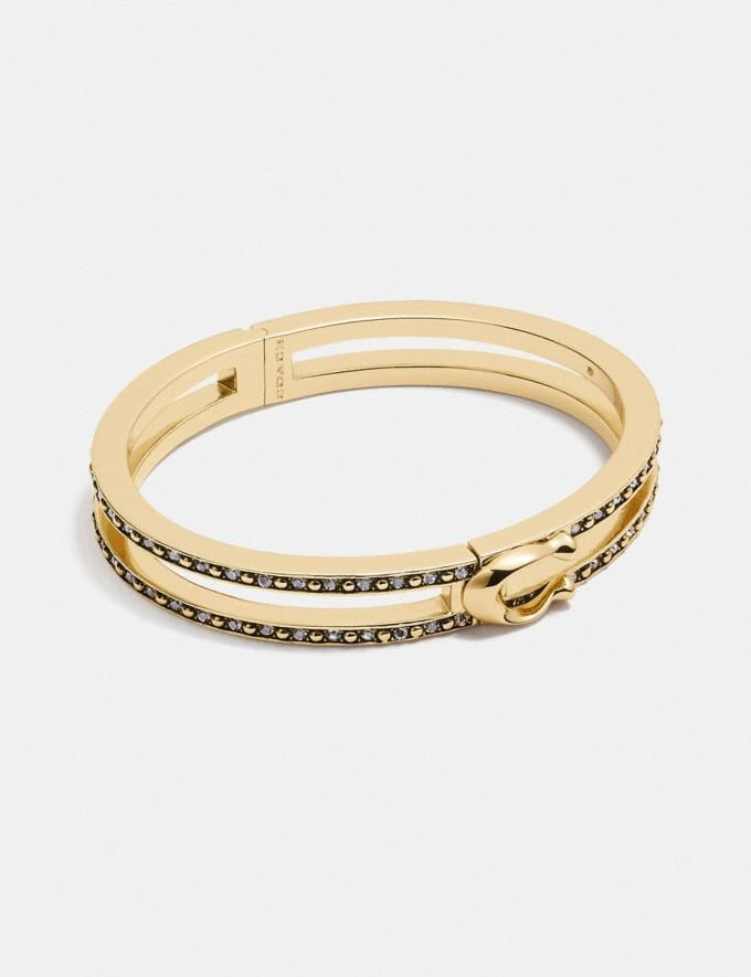 Coach Double Row Pave Signature Hinged Bangle Gold New Women's New Arrivals Accessories