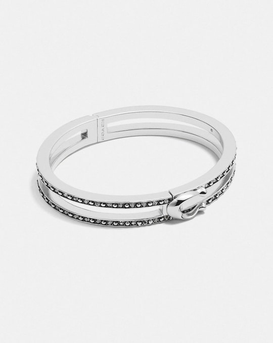 DOUBLE ROW PAVE SIGNATURE HINGED BANGLE