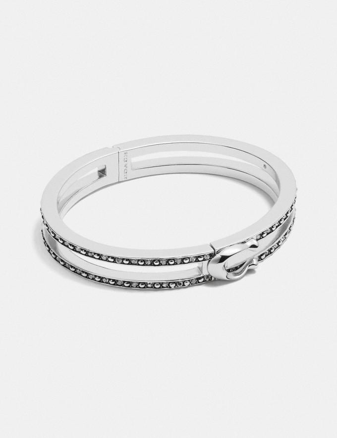 Coach Double Row Pave Signature Hinged Bangle Silver null
