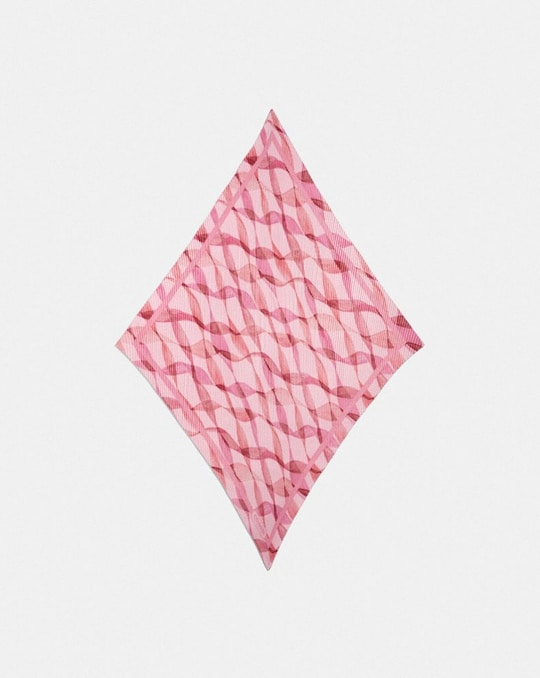 PLEATED DREAMY RIBBON PRINT OVERSIZED DIAMOND SCARF