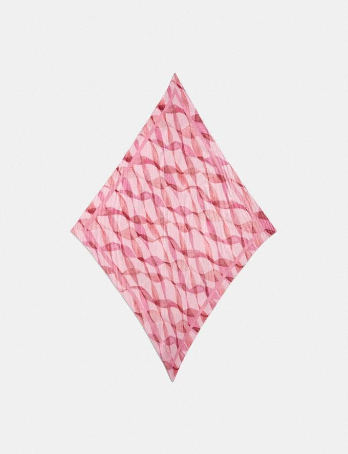 Coach Pleated Dreamy Ribbon Print Oversized Diamond Scarf Pink/Coral