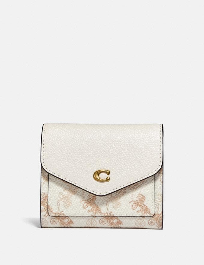 Coach Wynn Small Wallet With Horse and Carriage Print B4/Chalk Taupe New Women's New Arrivals Small Leather Goods