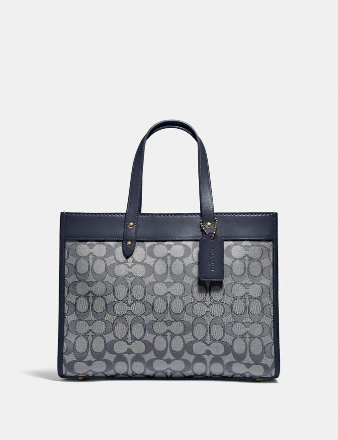 Coach Field Tote 30 in Signature Jacquard Brass/Navy Midnight Navy New Women's New Arrivals Bags