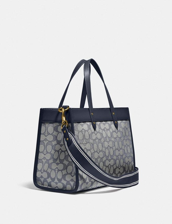 Coach Field Tote 30 in Signature Jacquard Brass/Navy Midnight Navy New Women's New Arrivals Bags Alternate View 1