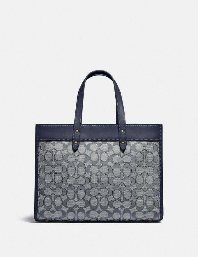 Coach Field Tote 30 in Signature Jacquard Brass/Navy Midnight Navy New Women's New Arrivals Bags Alternate View 2