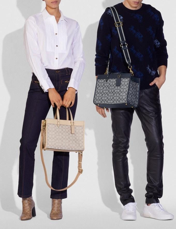 Coach Field Tote 30 in Signature Jacquard Brass/Navy Midnight Navy New Women's New Arrivals Bags Alternate View 4