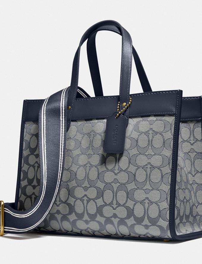Coach Field Tote 30 in Signature Jacquard Brass/Navy Midnight Navy New Women's New Arrivals Bags Alternate View 5