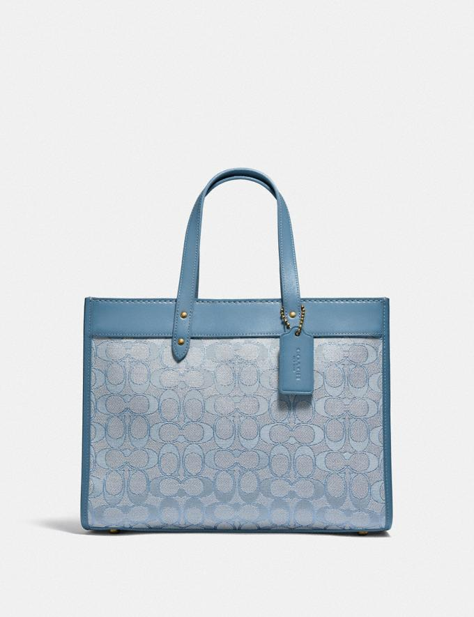 Coach Field Tote 30 in Signature Jacquard B4/Marble Blue Azure New Women's New Arrivals Bags