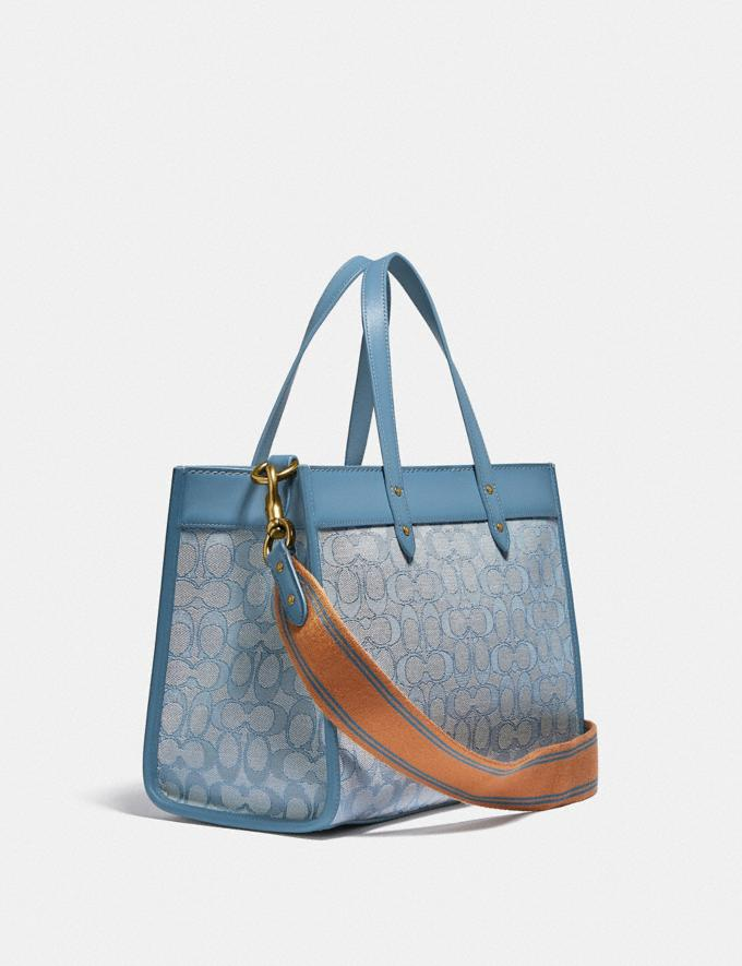 Coach Field Tote 30 in Signature Jacquard B4/Marble Blue Azure New Women's New Arrivals Bags Alternate View 1