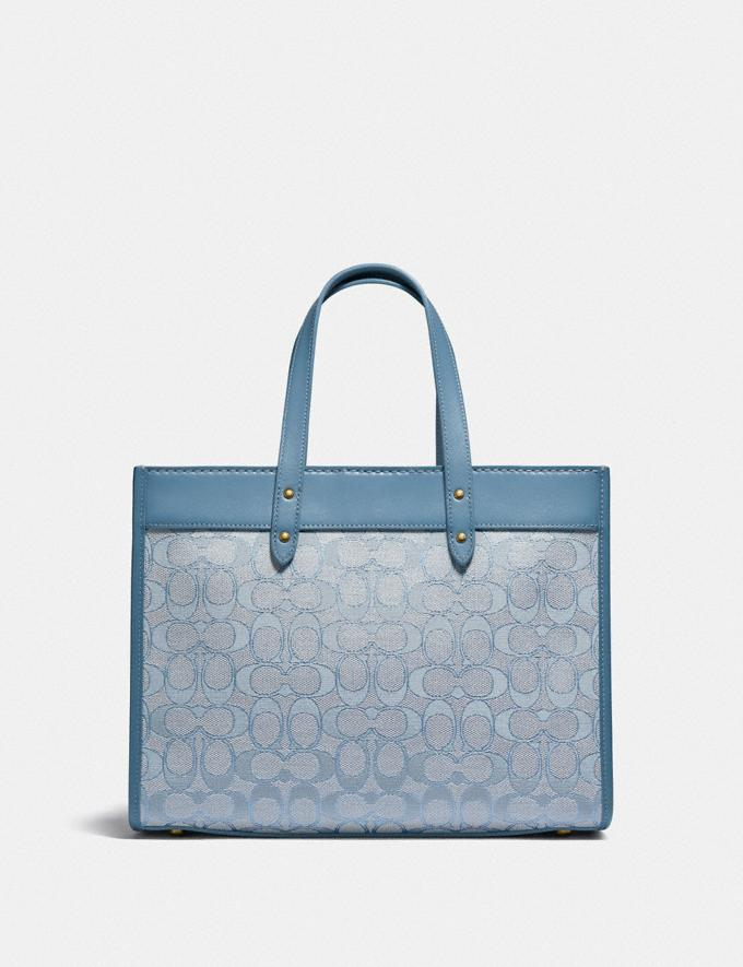 Coach Field Tote 30 in Signature Jacquard B4/Marble Blue Azure New Women's New Arrivals Bags Alternate View 2
