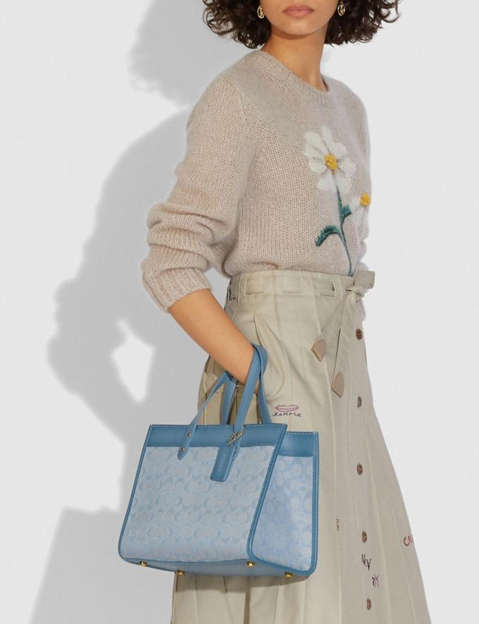 Coach Field Tote 30 in Signature Jacquard B4/Marble Blue Azure New Women's New Arrivals Bags Alternate View 4