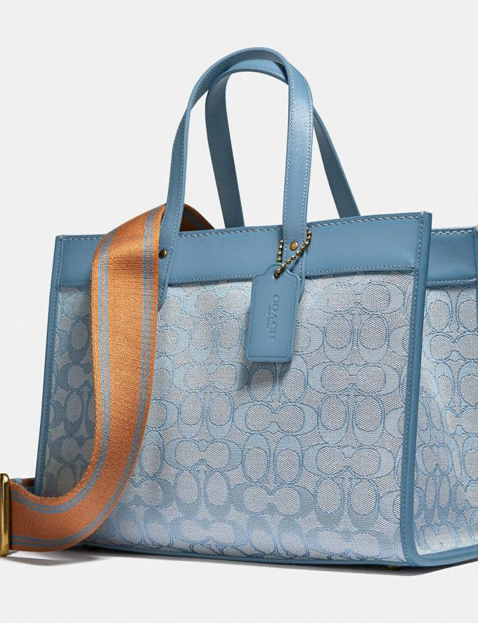 Coach Field Tote 30 in Signature Jacquard B4/Marble Blue Azure New Women's New Arrivals Bags Alternate View 5