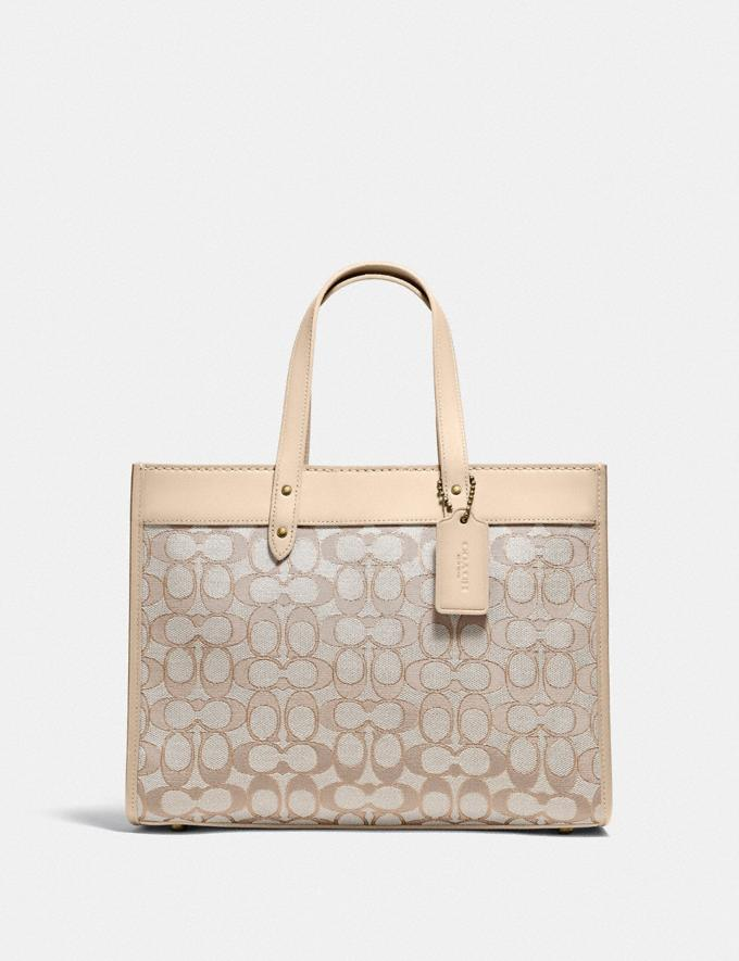 Coach Field Tote 30 in Signature Jacquard Brass/Stone Ivory New Women's New Arrivals Bags