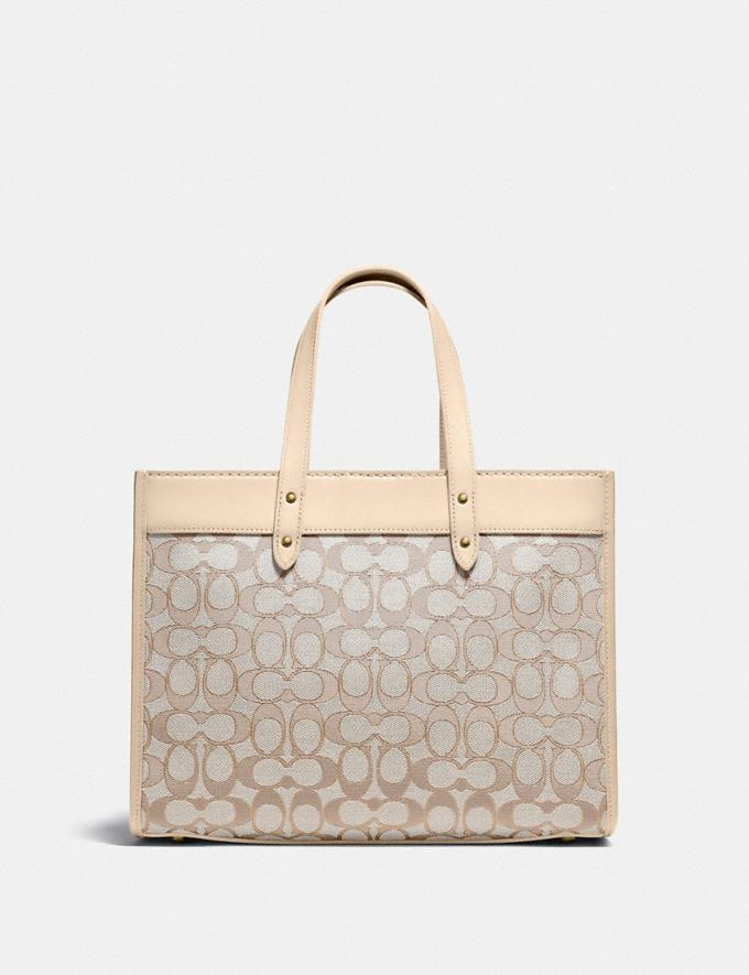 Coach Field Tote 30 in Signature Jacquard Brass/Stone Ivory New Women's New Arrivals Bags Alternate View 2