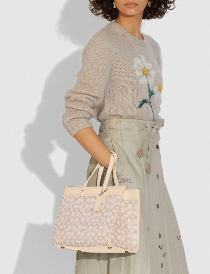 Coach Field Tote 30 in Signature Jacquard Brass/Stone Ivory New Women's New Arrivals Bags Alternate View 4