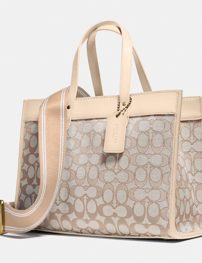 Coach Field Tote 30 in Signature Jacquard Brass/Stone Ivory New Women's New Arrivals Bags Alternate View 5