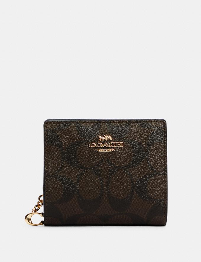 Coach Snap Wallet in Signature Canvas Im/Brown Black DEFAULT_CATEGORY