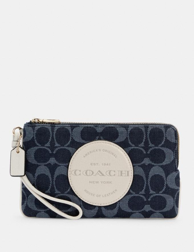 Coach Dempsey Double Zip Wallet in Signature Jacquard With Patch Im/Denim Multi DEFAULT_CATEGORY