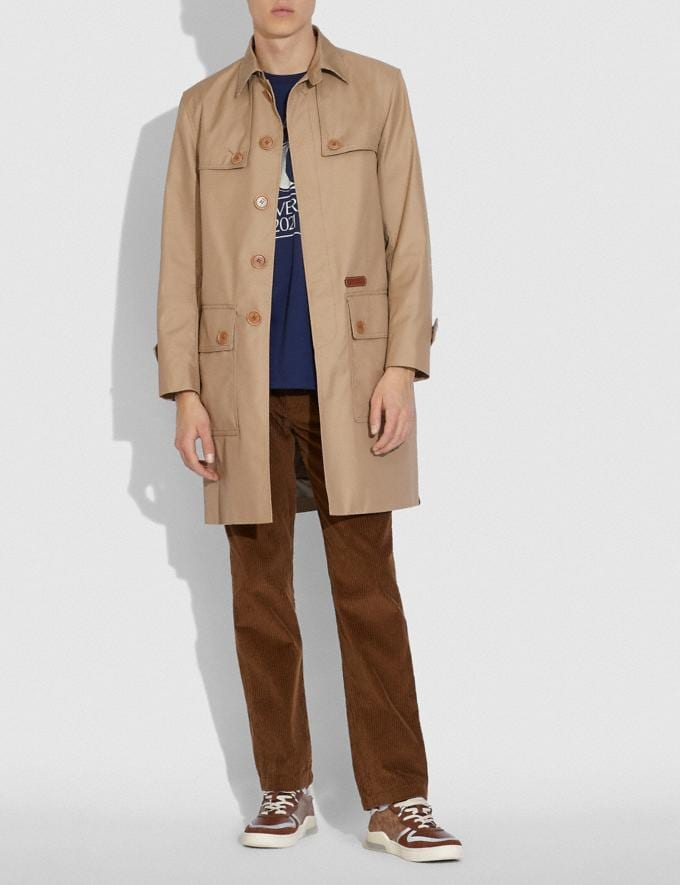 Coach Trench in Organic Cotton and Recycled Polyester Khaki  Alternate View 1