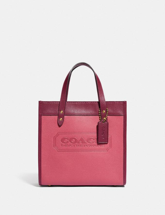 Coach Field Tote 22 in Colorblock With Coach Badge B4/Rouge Multi New Women's New Arrivals Bags