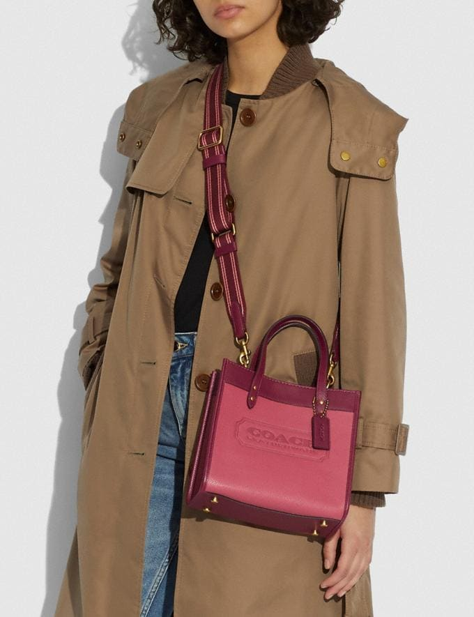 Coach Field Tote 22 in Colorblock With Coach Badge B4/Rouge Multi New Women's New Arrivals Bags Alternate View 4