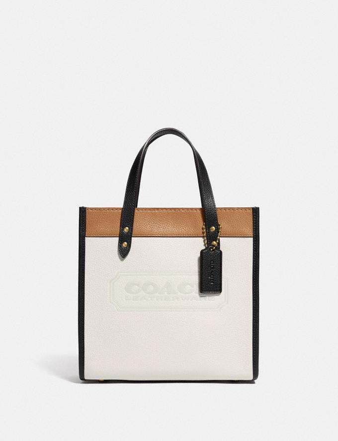 Coach Field Tote 22 in Colorblock With Coach Badge Brass/Chalk Multi null