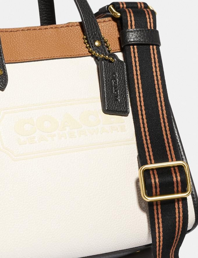 Coach Field Tote 22 in Colorblock With Coach Badge Brass/Chalk Multi null Alternate View 4