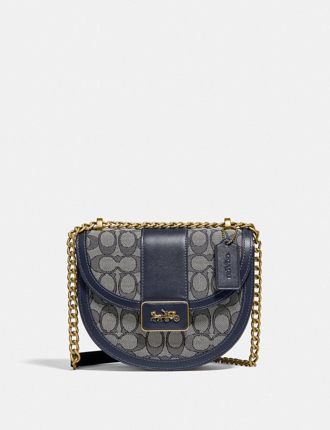 Coach Alie Saddle Bag in Signature Jacquard B4/Navy Midnight Navy Translations 5.1 Retail