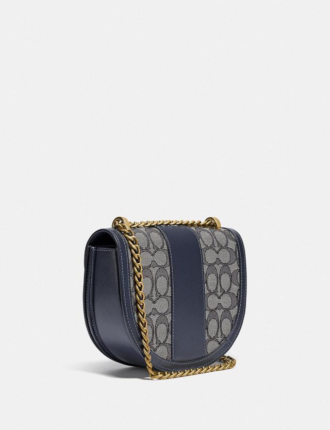 Coach Alie Saddle Bag in Signature Jacquard B4/Navy Midnight Navy Translations 5.1 Retail Alternate View 1