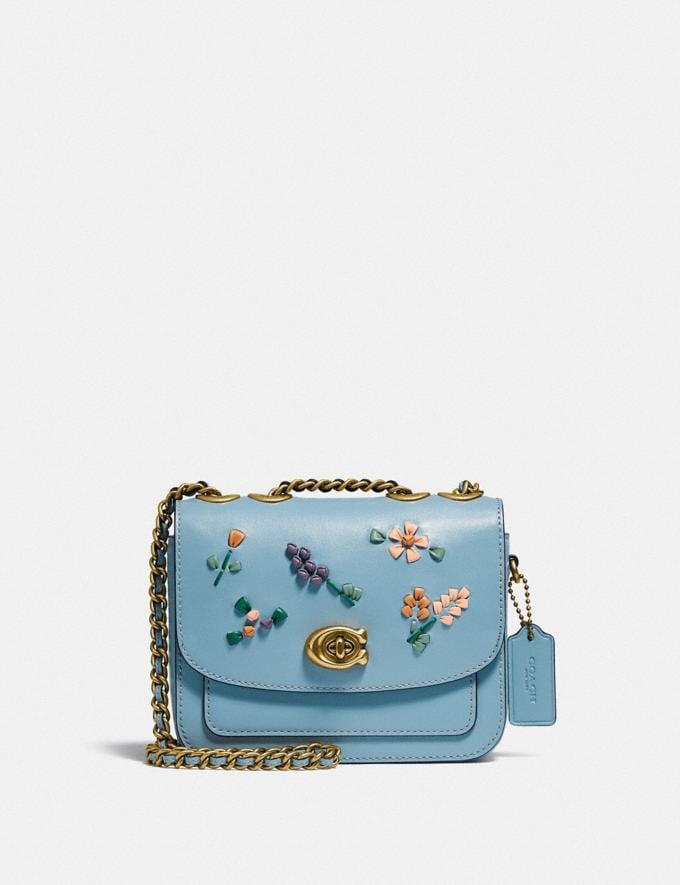 Coach Madison Shoulder Bag 16 With Floral Embroidery B4/Azure Translations 5.1 Retail