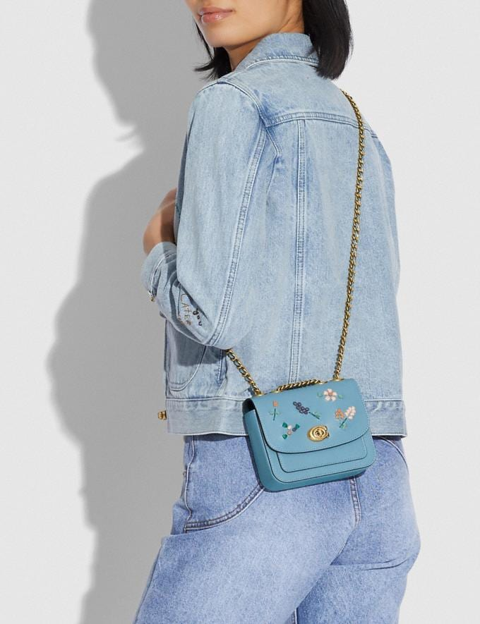 Coach Madison Shoulder Bag 16 With Floral Embroidery B4/Azure Translations 5.1 Retail Alternate View 3