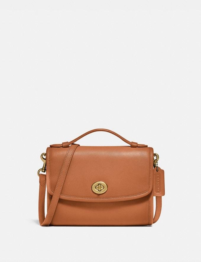 Coach Kip Turnlock Crossbody Brass/Natural New Women's New Arrivals Small Leather Goods