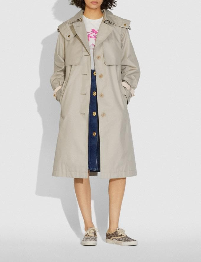 Coach Hooded Trench Pumice DEFAULT_CATEGORY Alternate View 1