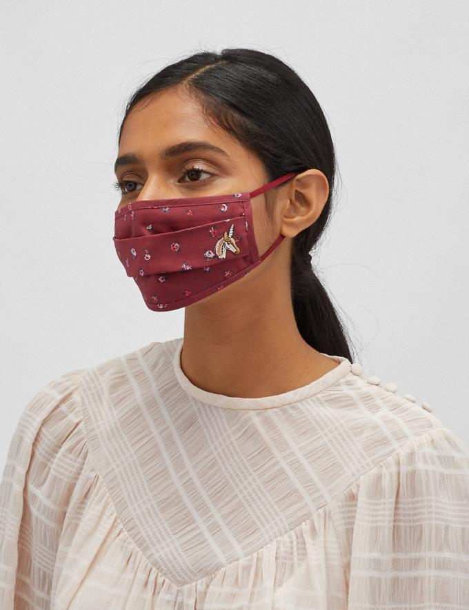 Coach Uni Face Mask With Mini Vintage Rose Print Burgundy Women Accessories Face Masks Alternate View 2