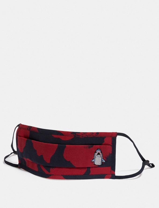 Coach Sharky Face Mask With Wild Flower Camo Print Navy/Red Women Accessories Face Masks