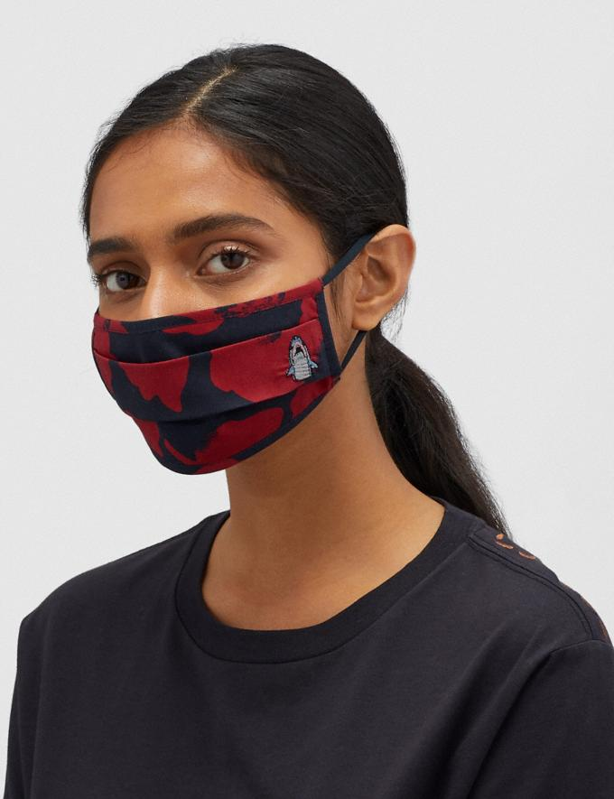 Coach Sharky Face Mask With Wild Flower Camo Print Navy/Red Women Accessories Face Masks Alternate View 2