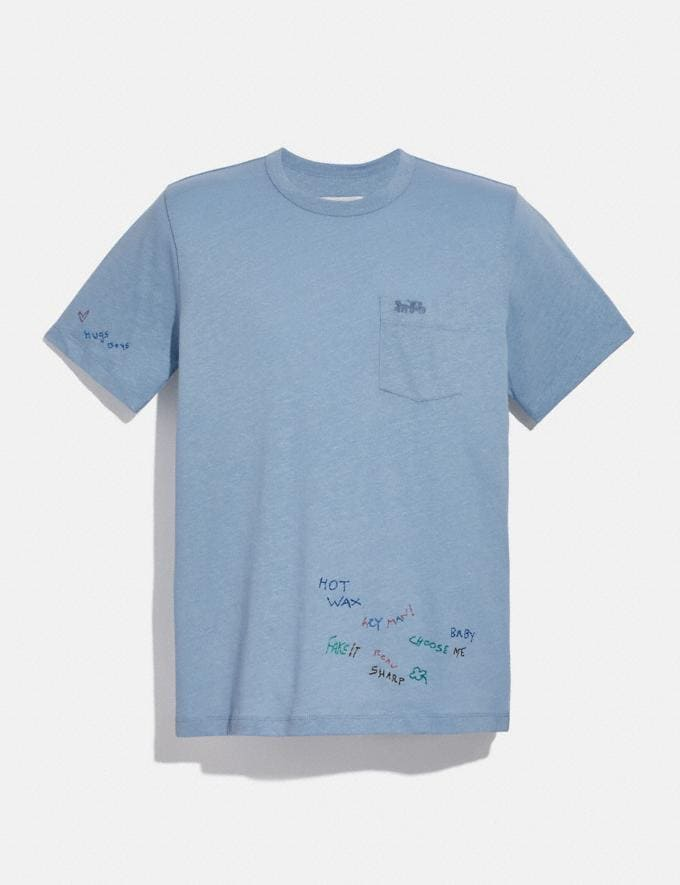 Coach Oversized Pocket T-Shirt With Embroidery Powder Blue