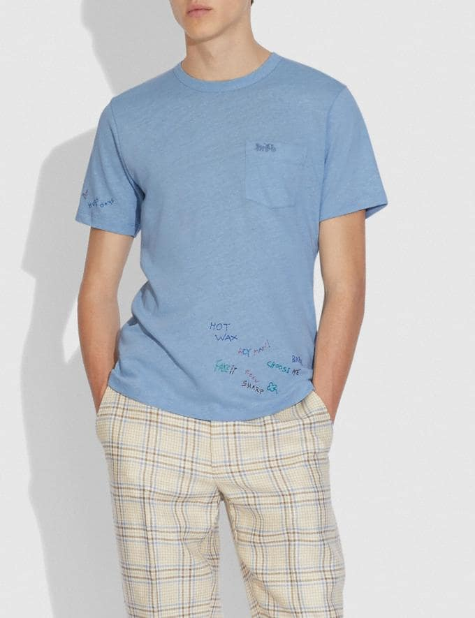 Coach Oversized Pocket T-Shirt With Embroidery Powder Blue  Alternate View 1