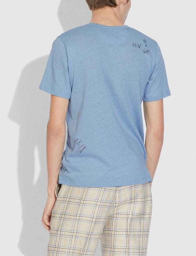 Coach Oversized Pocket T-Shirt With Embroidery Powder Blue  Alternate View 2