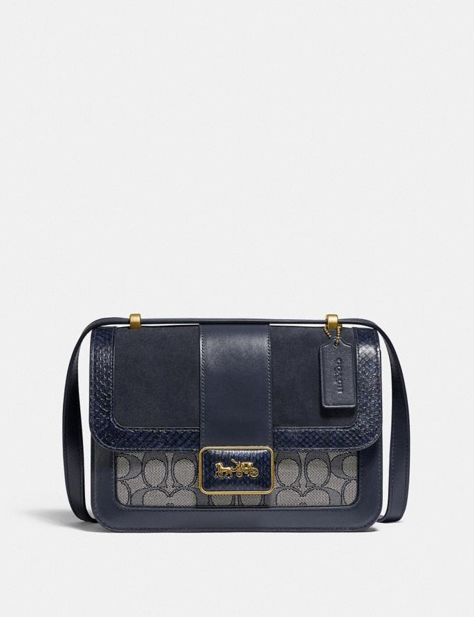 Coach Alie Shoulder Bag in Signature Jacquard With Snakeskin Detail B4/Navy Midnight Navy New Women's New Arrivals Bags