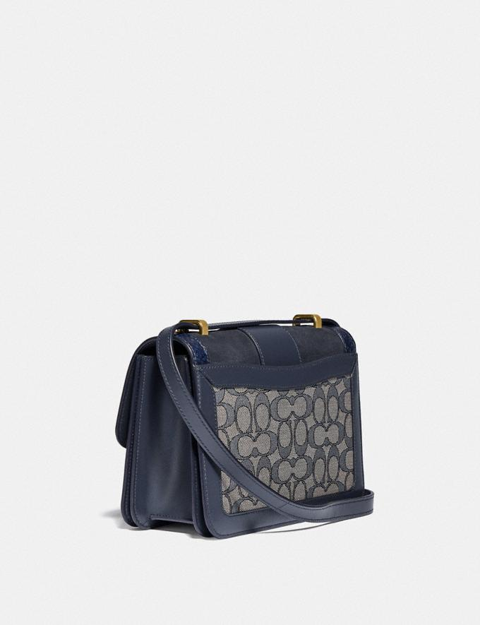 Coach Alie Shoulder Bag in Signature Jacquard With Snakeskin Detail B4/Navy Midnight Navy New Women's New Arrivals Bags Alternate View 1