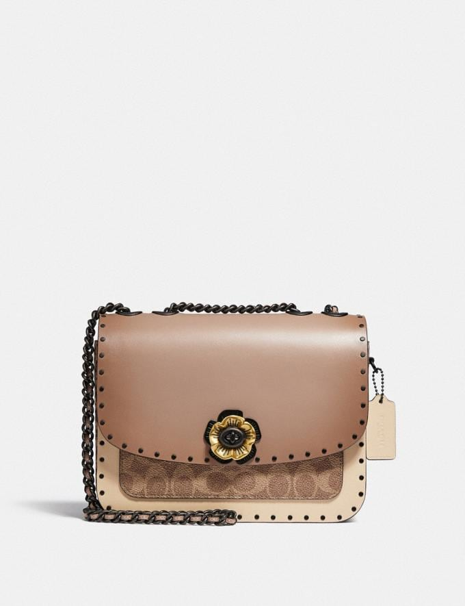 Coach Madison Shoulder Bag in Signature Canvas With Rivets and Snakeskin Detail V5/Tan Taupe Multi New Women's New Arrivals Bags