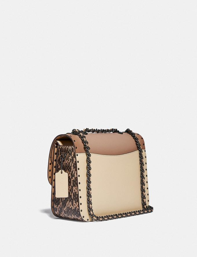 Coach Madison Shoulder Bag in Signature Canvas With Rivets and Snakeskin Detail V5/Tan Taupe Multi New Women's New Arrivals Bags Alternate View 1