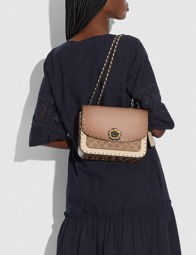 Coach Madison Shoulder Bag in Signature Canvas With Rivets and Snakeskin Detail V5/Tan Taupe Multi New Women's New Arrivals Bags Alternate View 4