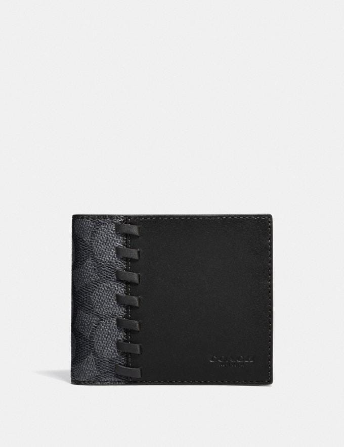 Coach 3-In-1 Wallet in Blocked Signature Canvas With Whipstitch Black/Charcoal Translations 5.1 Retail