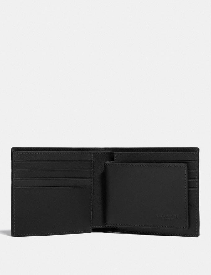 Coach 3-In-1 Wallet in Blocked Signature Canvas With Whipstitch Black/Charcoal null Alternate View 1