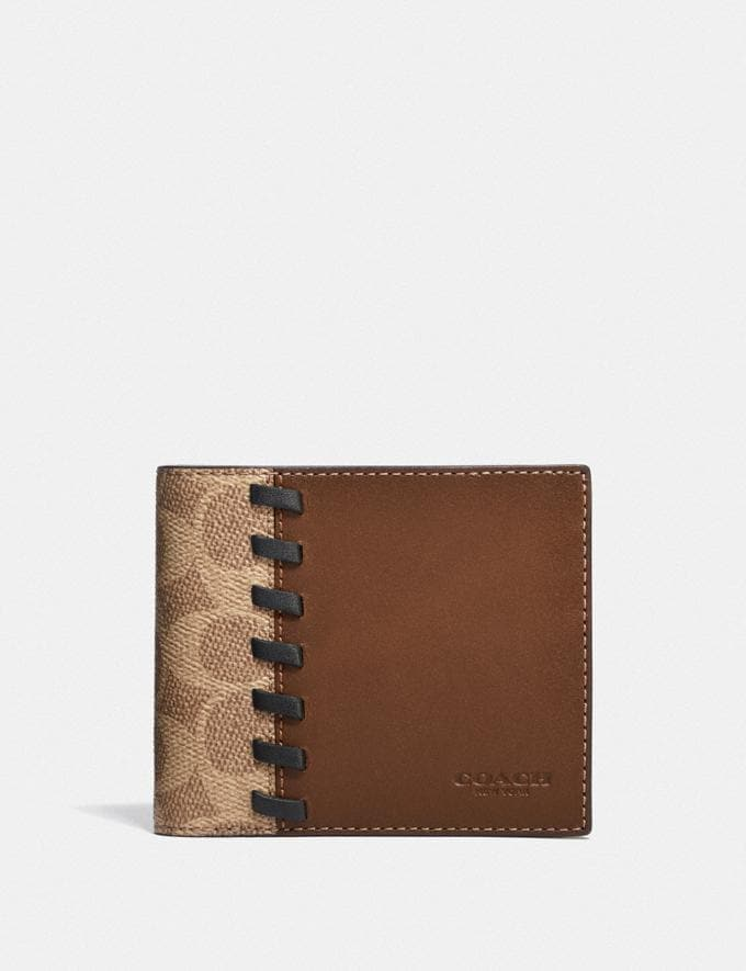 Coach 3-In-1 Wallet in Blocked Signature Canvas With Whipstitch Dark Saddle/Tan New Men's New Arrivals Wallets