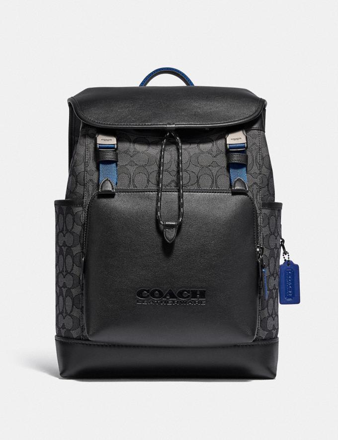 Coach League Flap Backpack in Signature Jacquard Black Copper/Charcoal/Black Translations 5.1 Retail