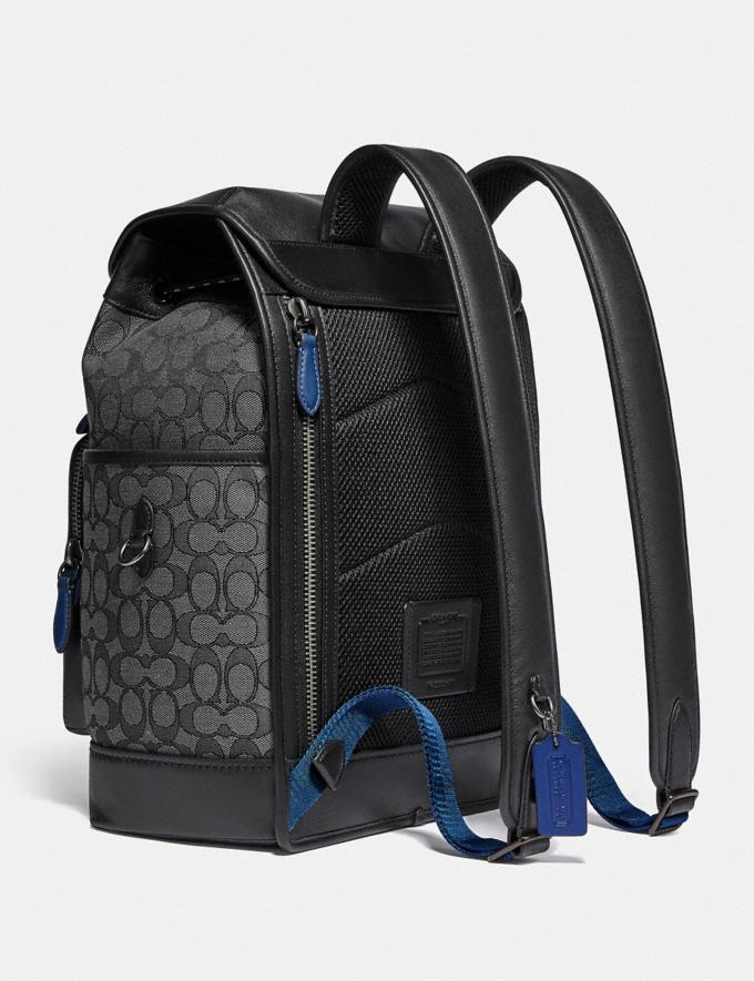 Coach League Flap Backpack in Signature Jacquard Black Copper/Charcoal/Black Translations 5.1 Retail Alternate View 1