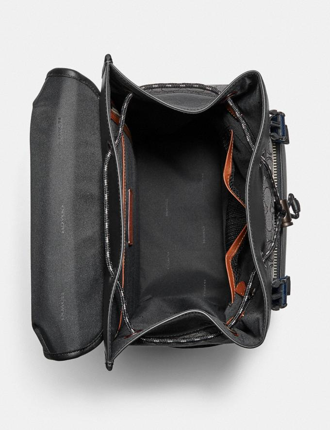 Coach League Flap Backpack in Signature Jacquard Black Copper/Charcoal/Black Translations 5.1 Retail Alternate View 2
